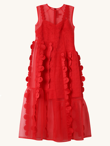 Appliques Dress in Red
