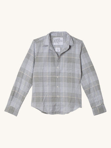 Barry Shirt in Washed Grey Plaid Flannel