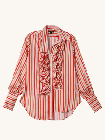 Stripe Ruffle Collar Shirt