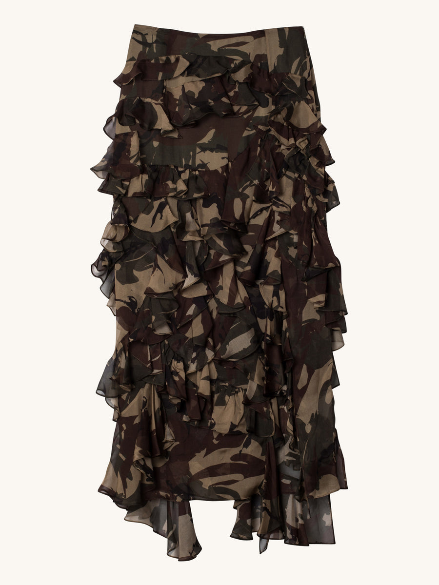 Melena Chiffon Skirt in Camo