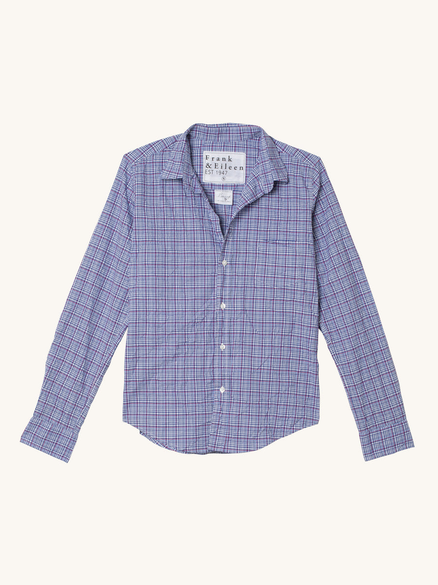 Barry Shirt in Blue, Red & White Plaid Classic Poplin
