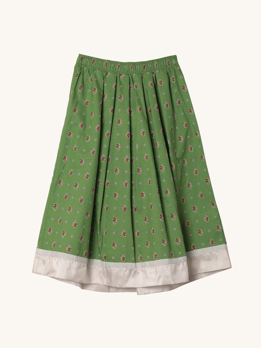 Floral Balloon Skirt in Green