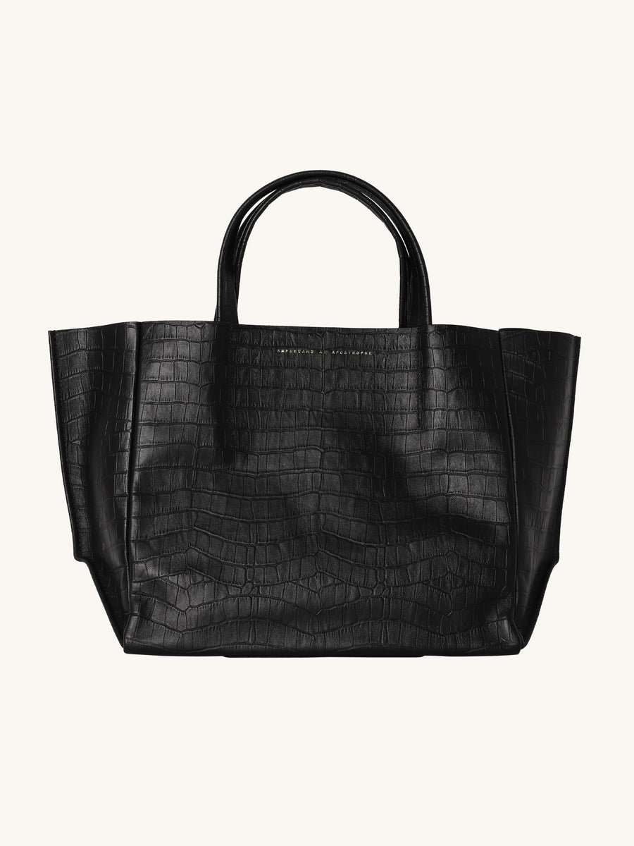 Half Tote in Matte Black Croc