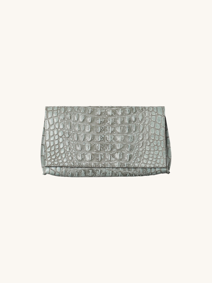 Foldover Embossed Clutch in Sage