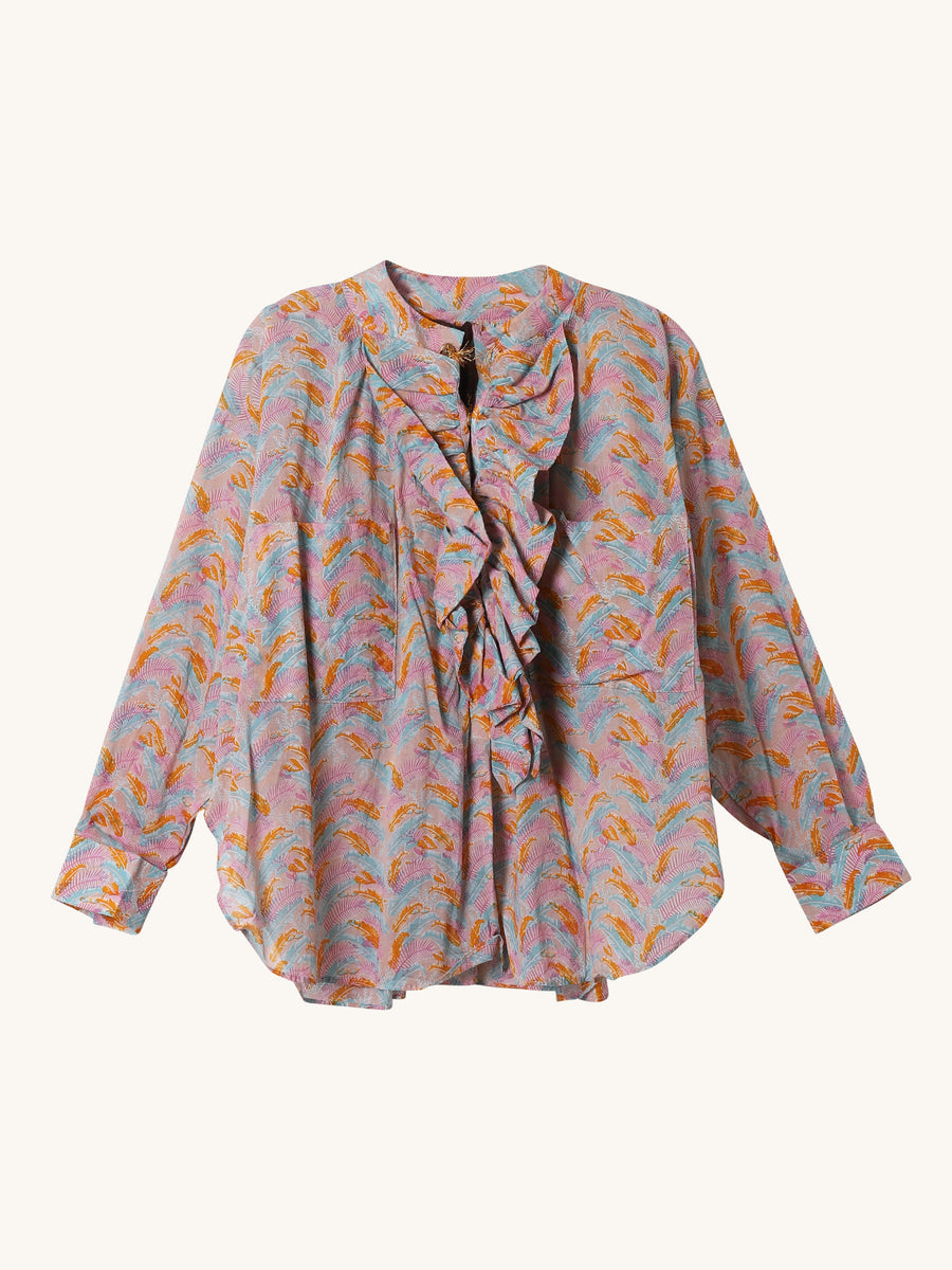 Frill Shirt in Multi Jungle Print