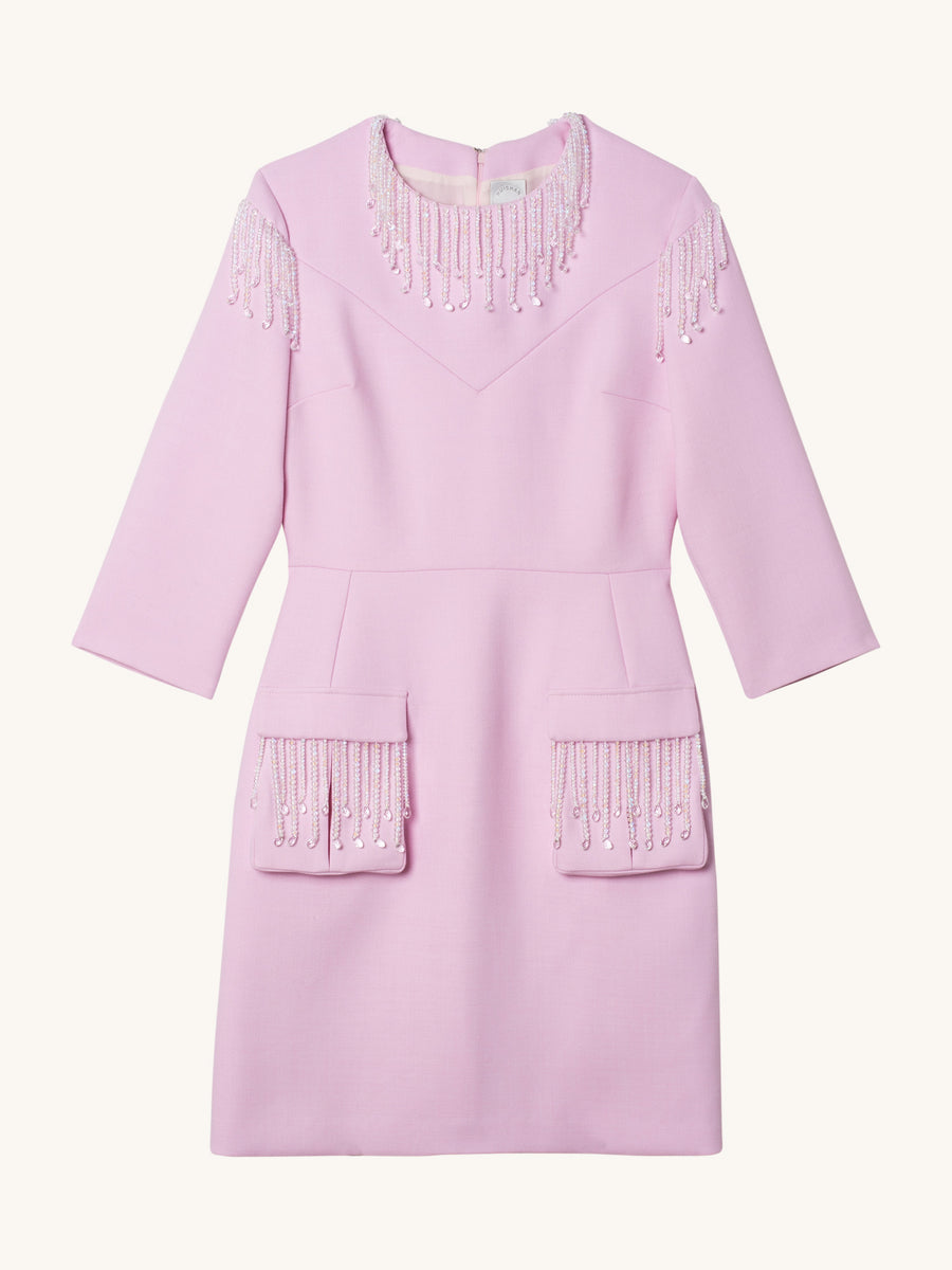 Tinely Wool Dress in Pink