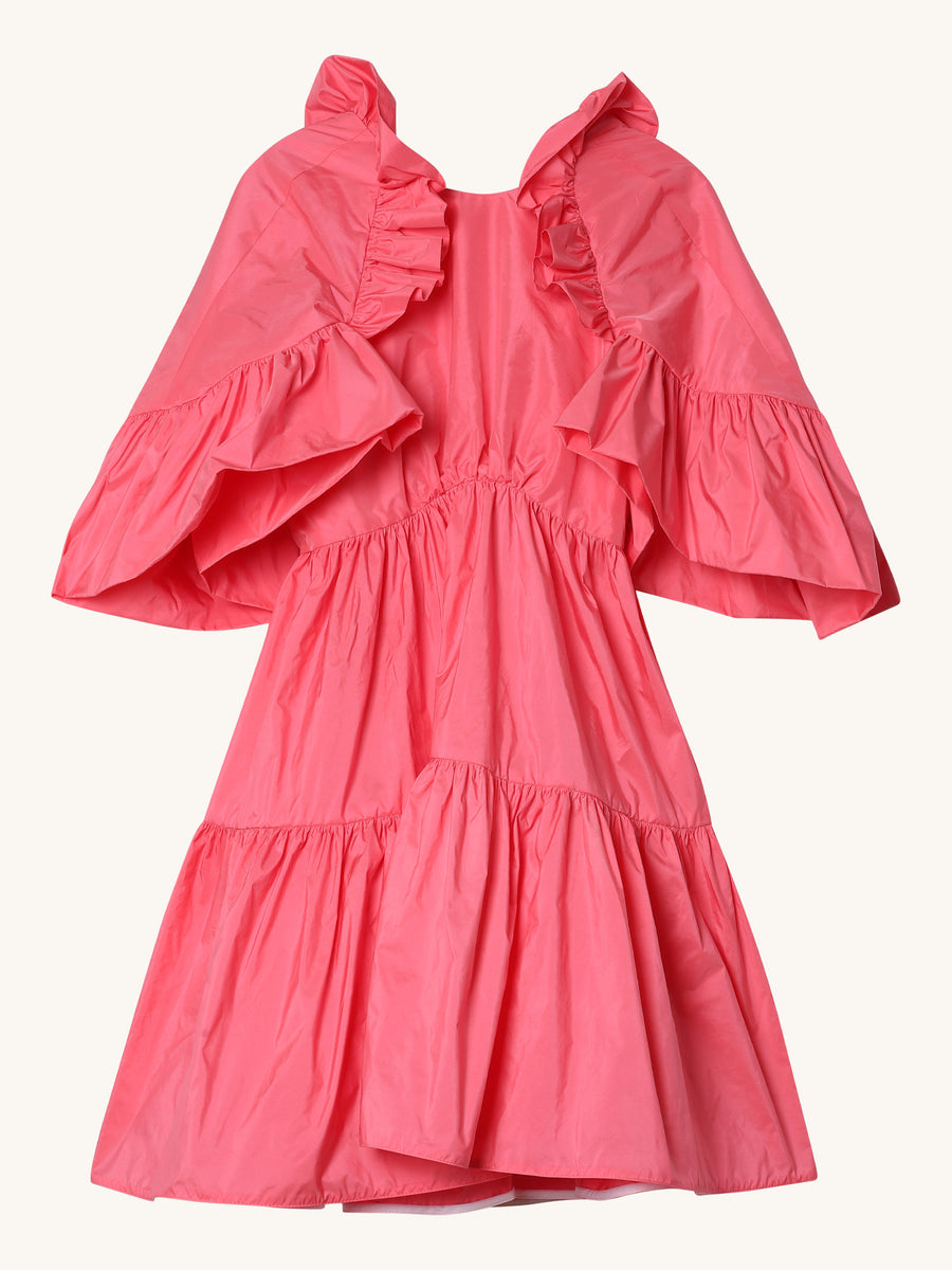 Pink Taffeta Ruffle Dress