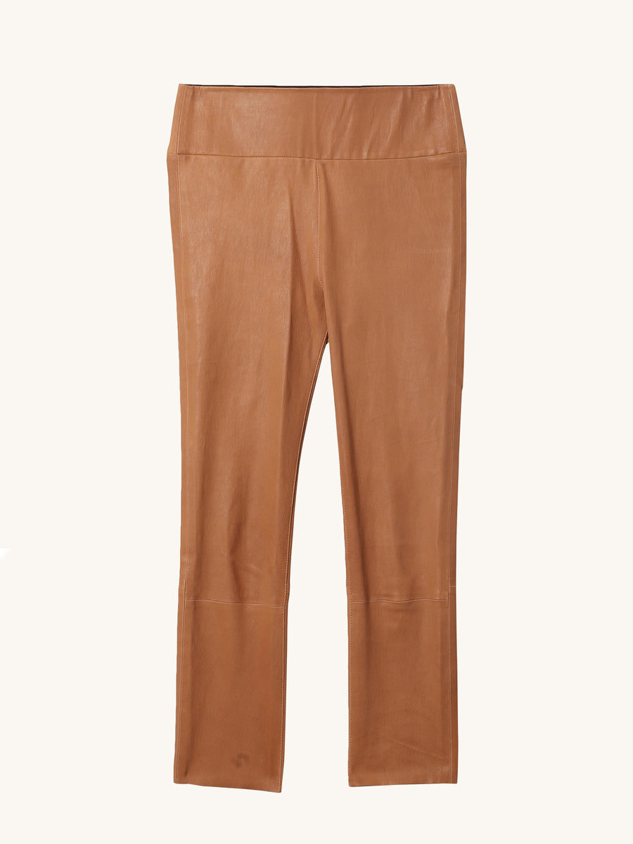 Caramel 3/4 Capri Leather Legging