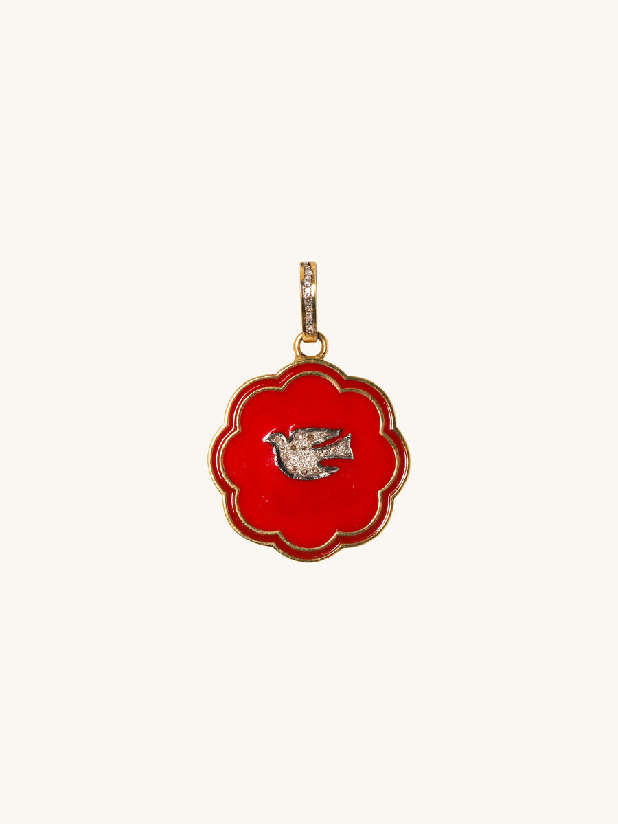 Red Enamel Dove Pendant