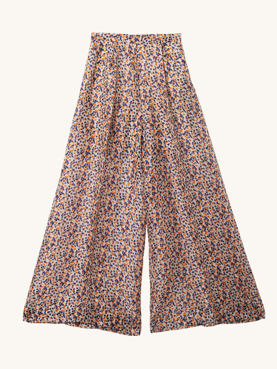 Printed Wide Leg Organza Pants