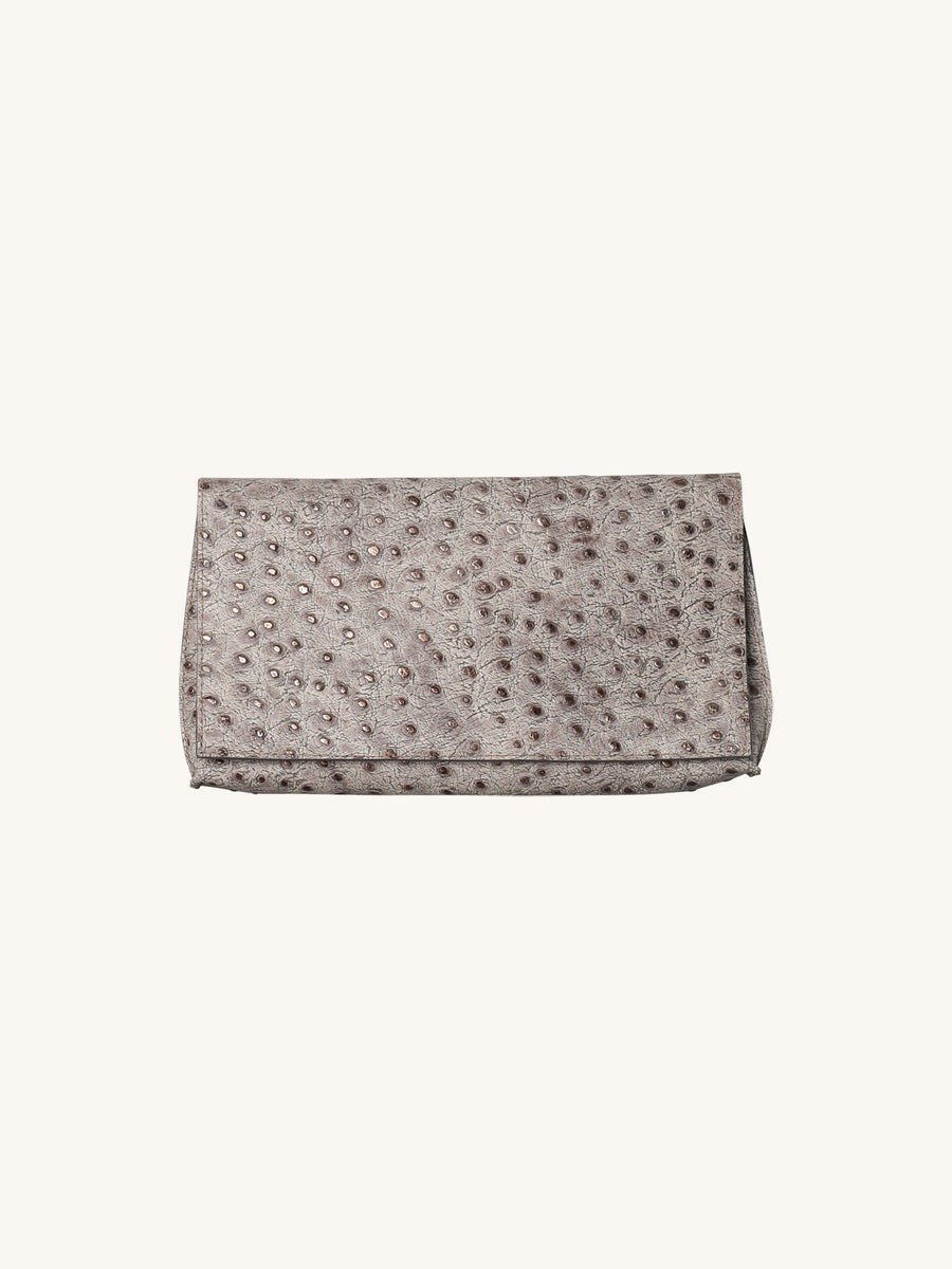 Foldover Embossed Clutch in Calm