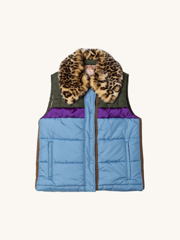 Puffy Vest with Leopard Collar