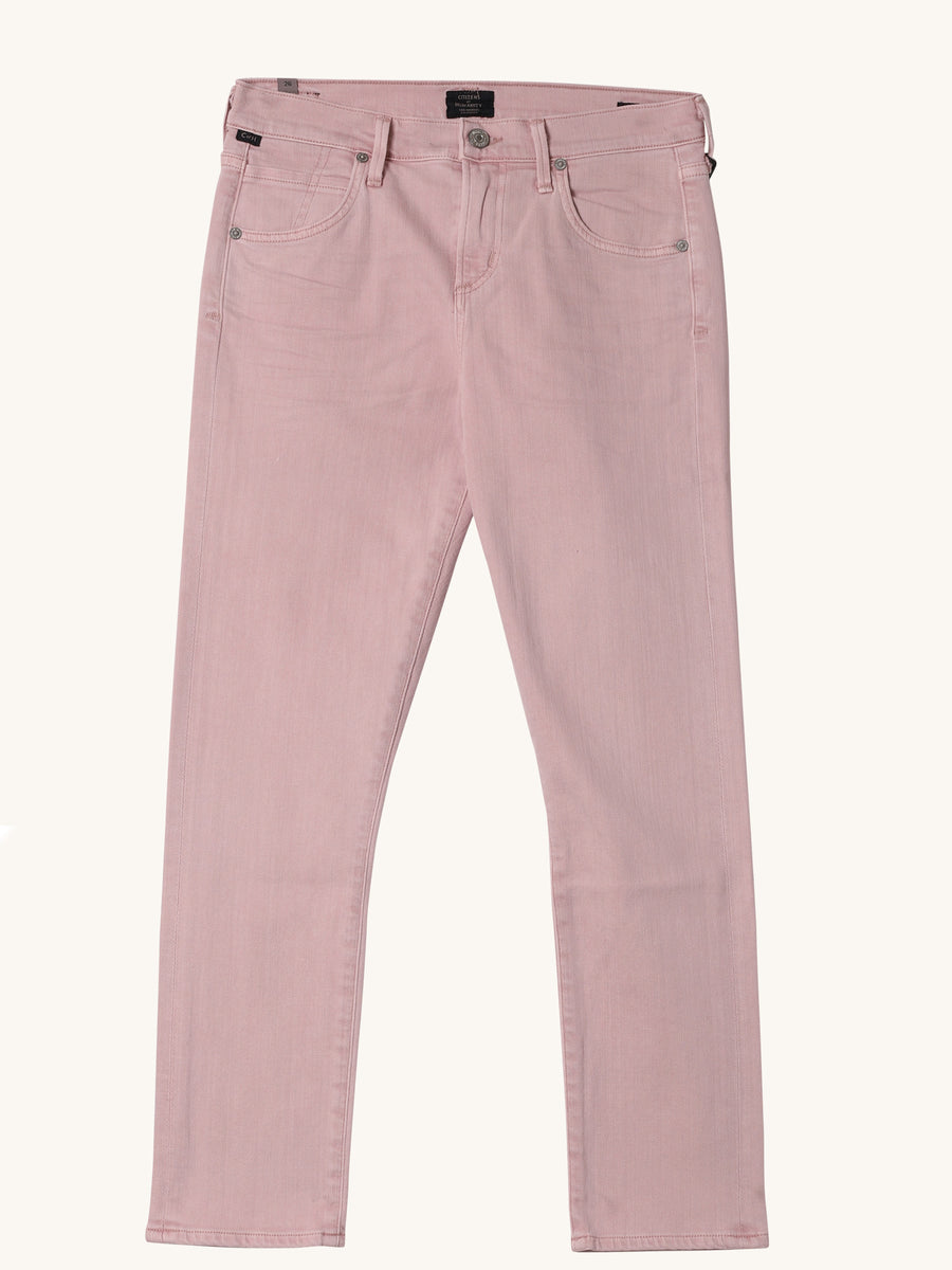 Elsa Mid Rise Slim Fit Crop in Rose