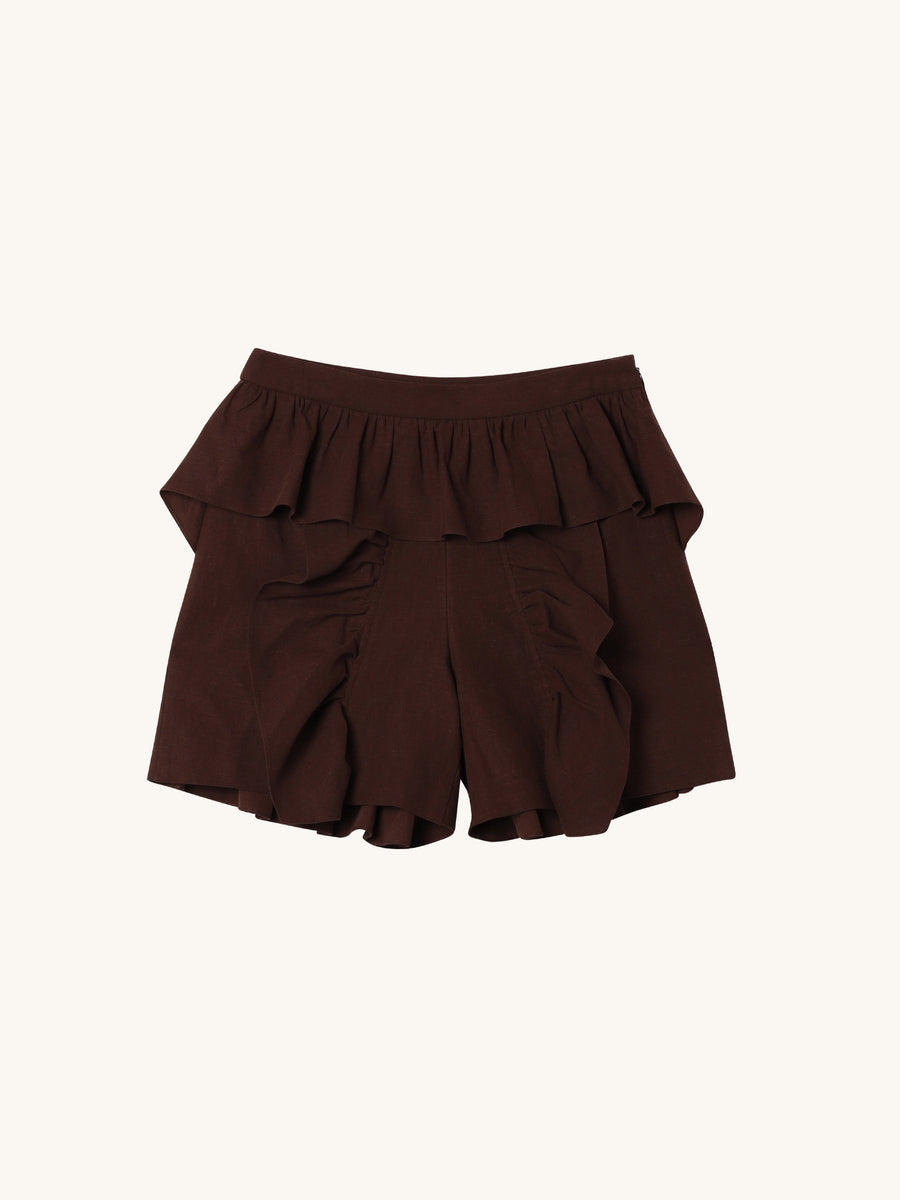 Ruffled Shorts in Brown