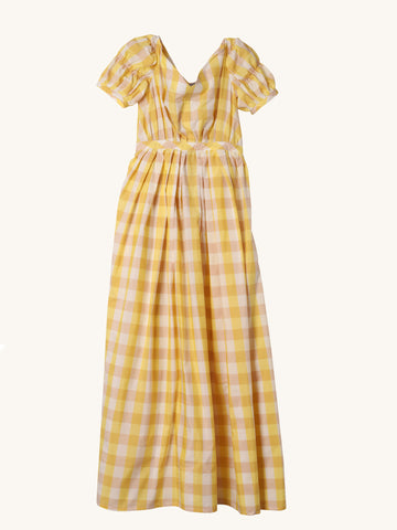 Veronika Lemon Check Dress
