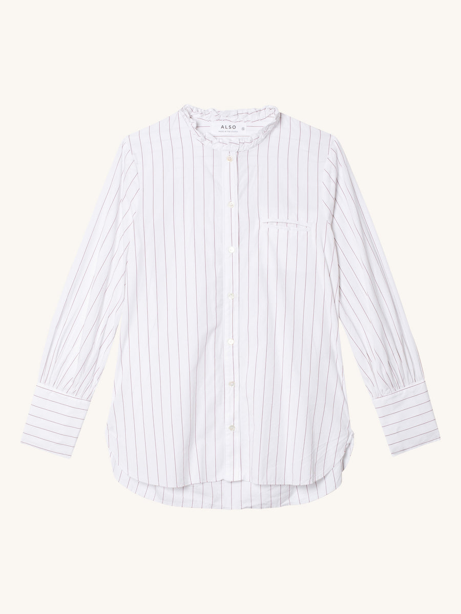 Romy Shirt in Burgandy Stripe