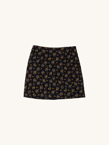 Quilted Floral Jacquard Mini Skirt