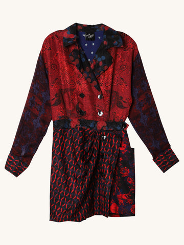 Silk Trench Dress in Red