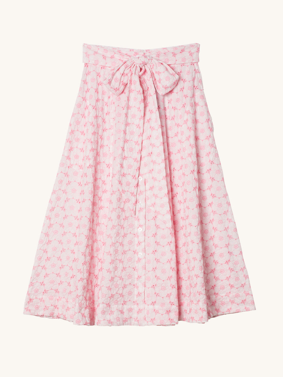 Poppy Pink & White Eyelet Beach Skirt