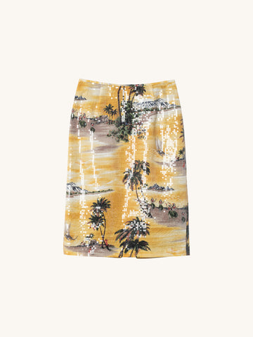 Hawaiian Shine Sequin Pencil Skirt
