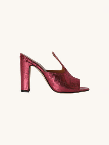 Metallic Croc Mule in Burgundy