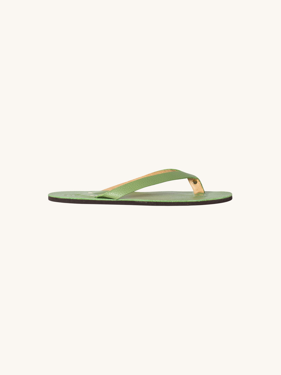 Leather Flip Flop in Grass
