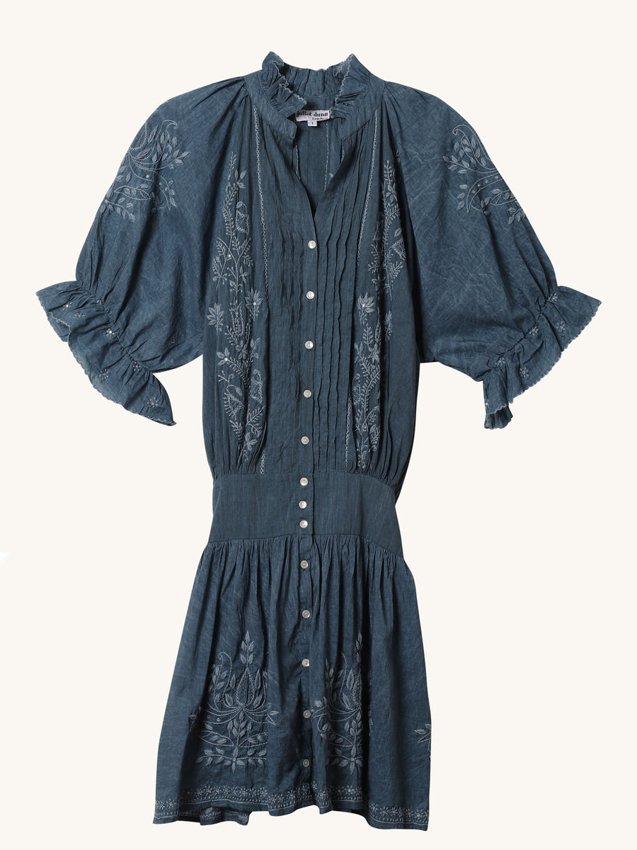 Acid Denim Wash Blouson Dress