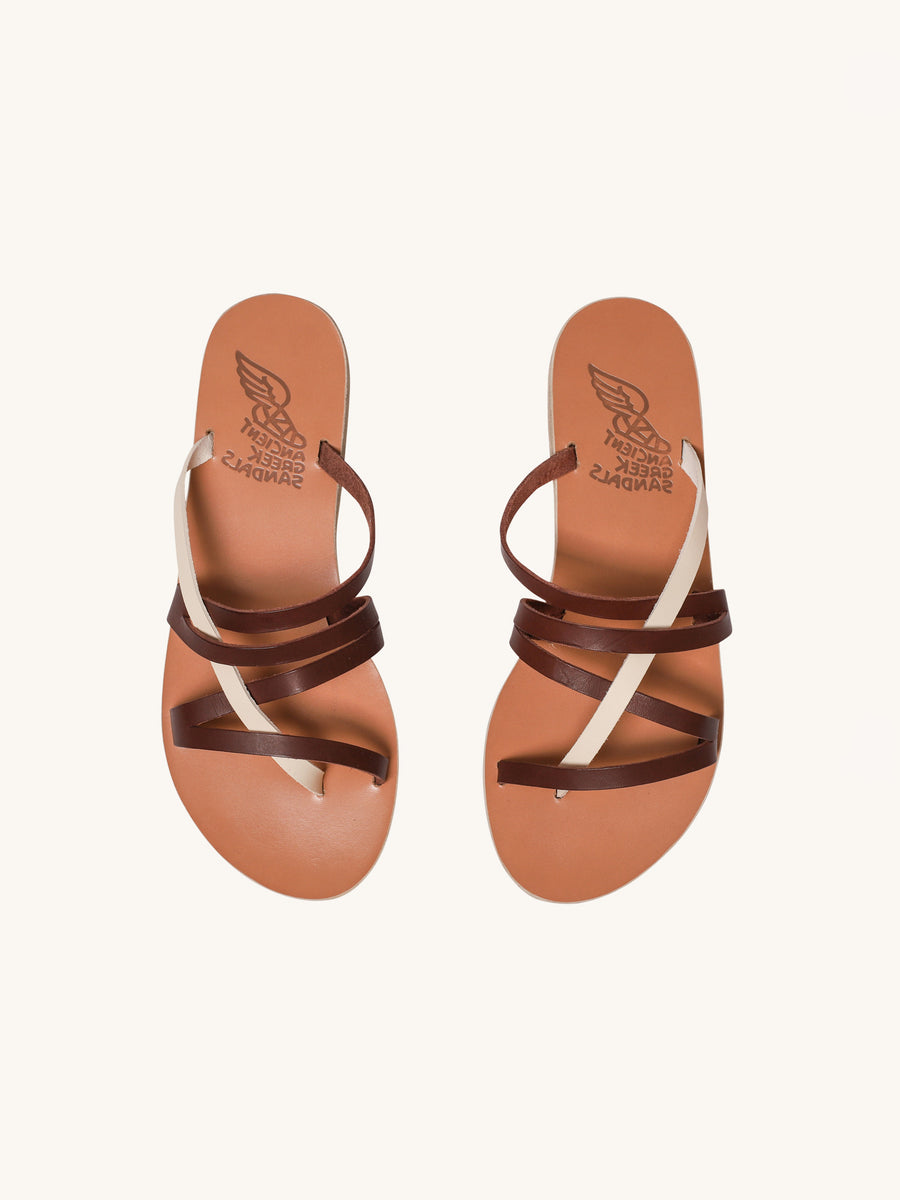 Hippolyte Sandals in Off White & Chestnut