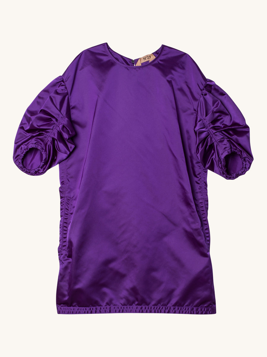 Boxy Nylon Dress with Ruched Sleeves in Purple