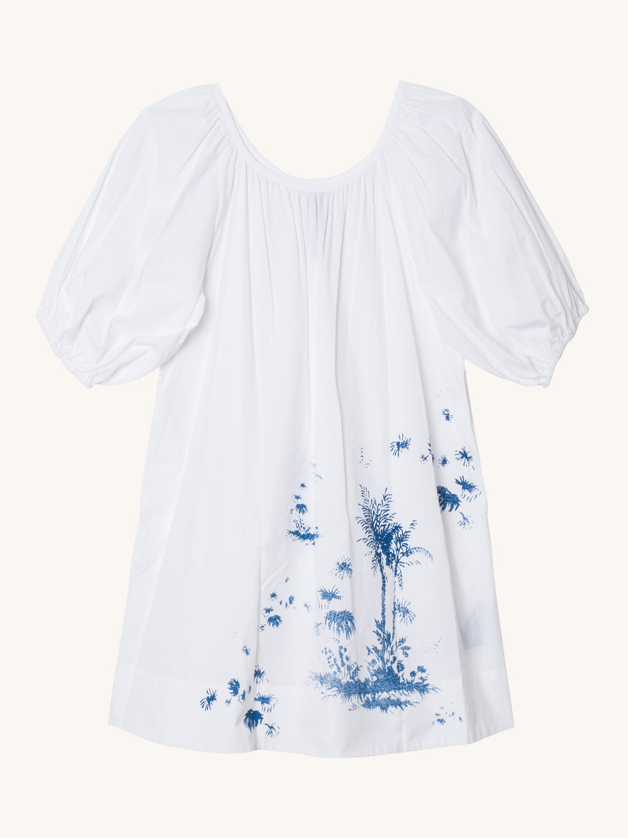 Peasant Dress in White with Palm Print