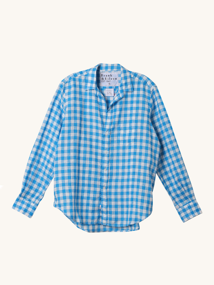 Turquoise Large Check Eileen Shirt