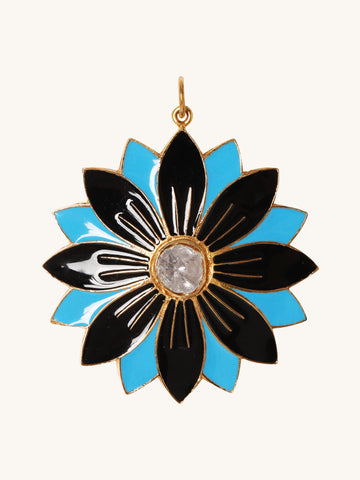 Large Blue & Black Enamel Flower Pendant