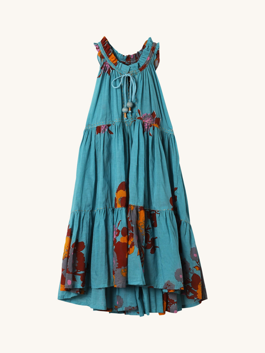 Mini Hippy Dress in Aqua Big Flower Print