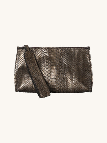 Wristlet Pouch in Distress Metal Python