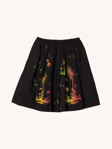 Simple Full Skirt in Black Palm Print