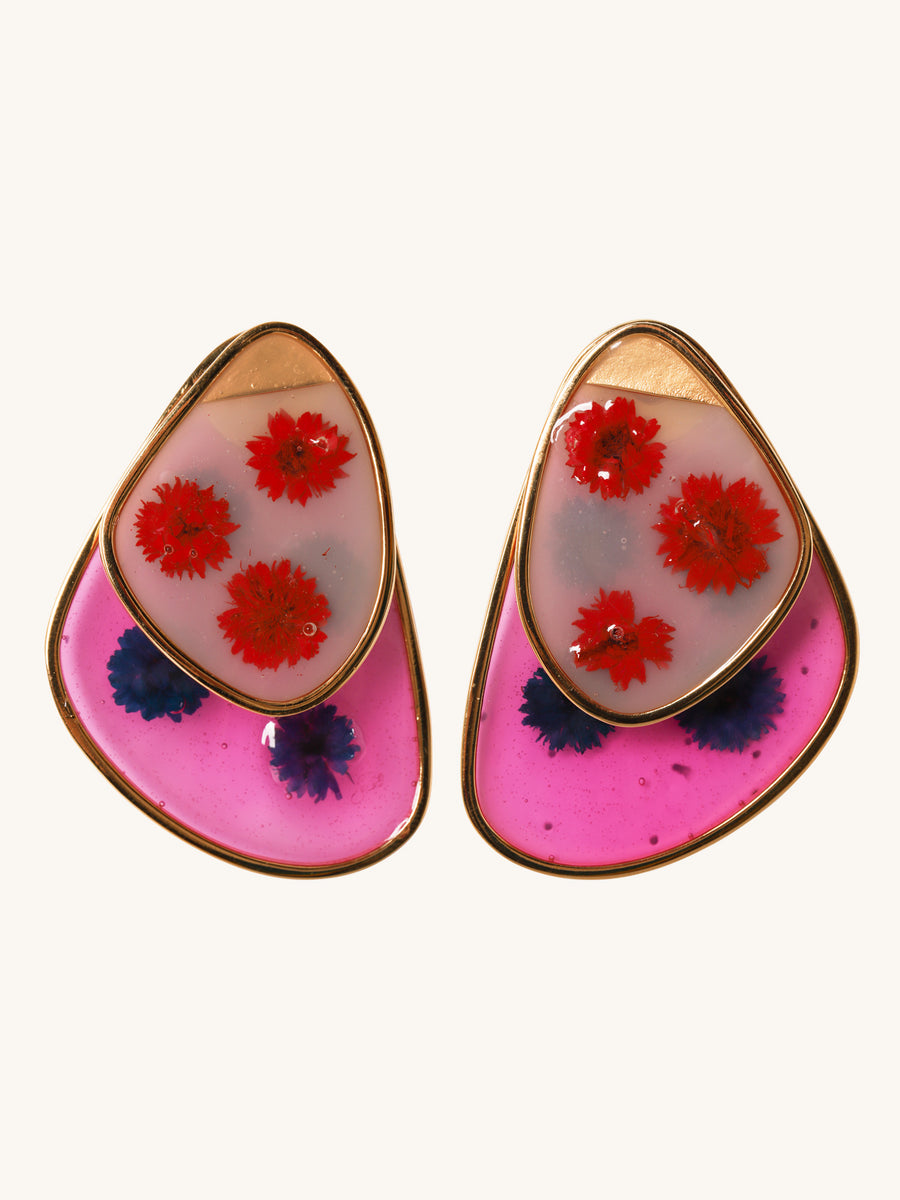 Double Faced Frosted Glass Floral Earrings in Red & Pink