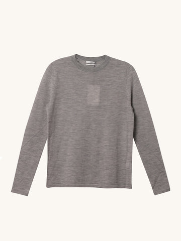 Long Sleeve Crew Neck Knit in Grey
