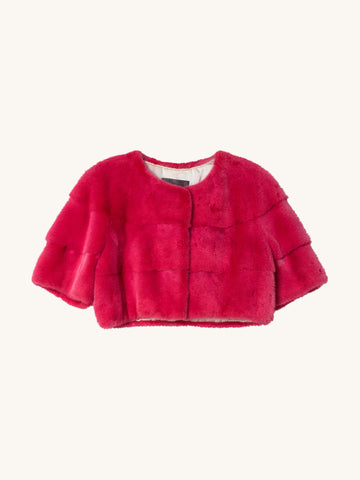 Sarah Mini Mink Jacket in Fuchsia