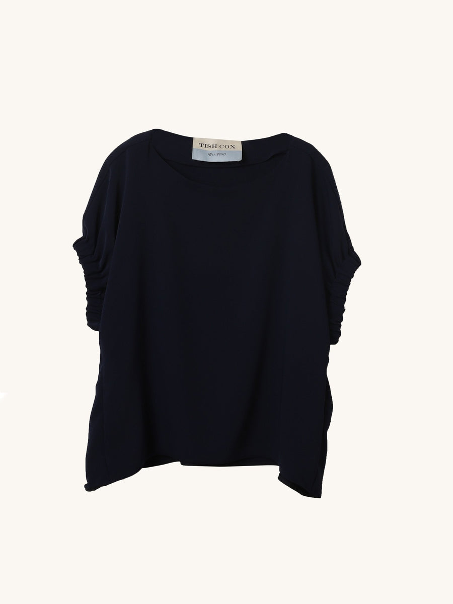 Silk Crepe Kloe Top in Navy