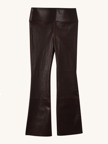 Chocolate Crop Flare Leather Legging