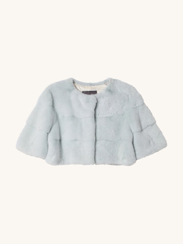 Sarah Mini Mink Jacket in Tiffany
