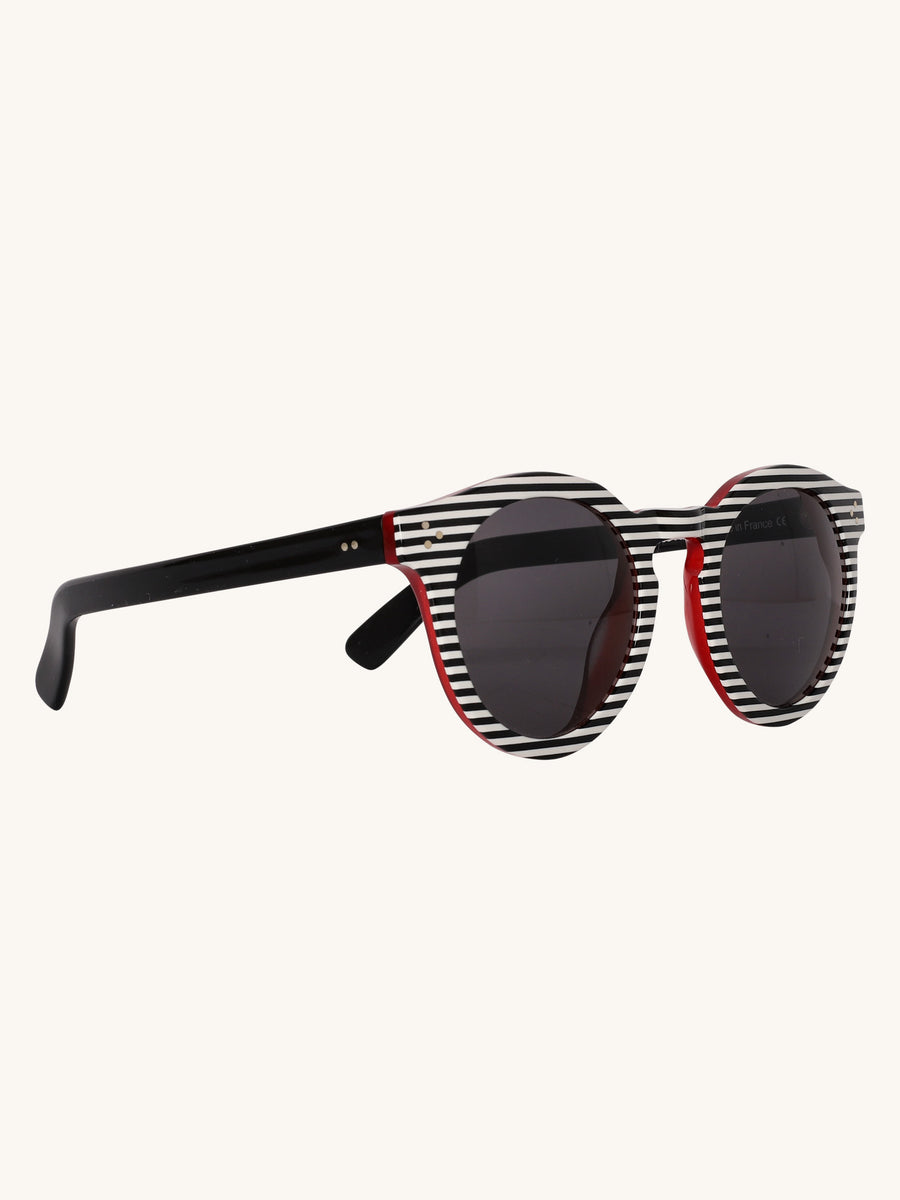 Leonard II Sunglasses in Black & White Stripes