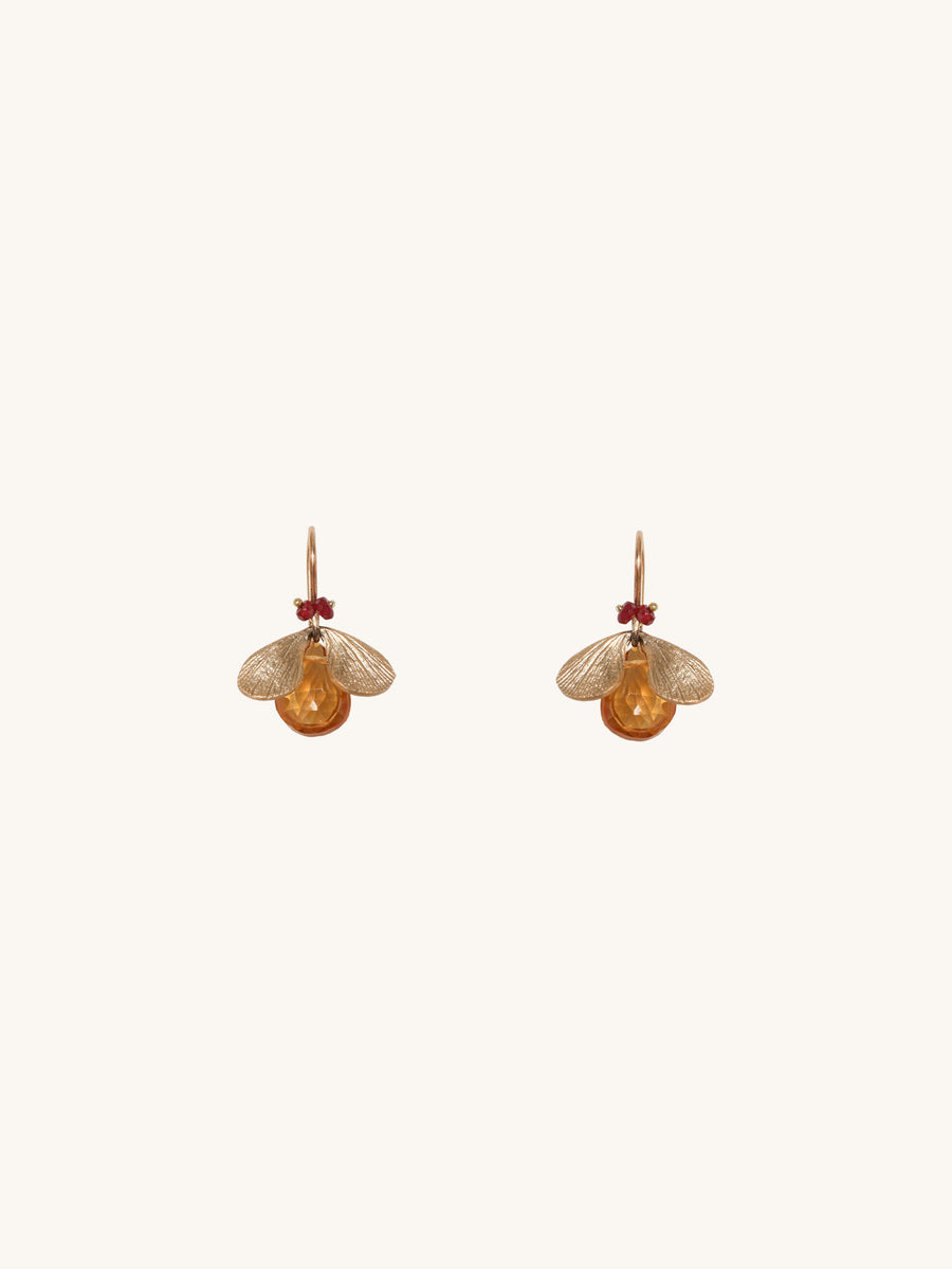 Citrine & Ruby Bug Earrings