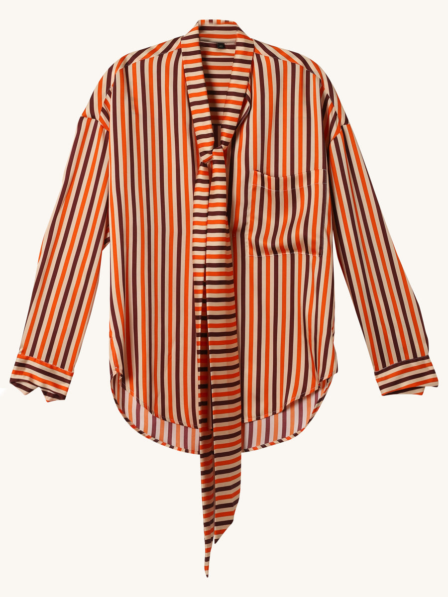 Donna Shirt in Orange & Purple Stripe