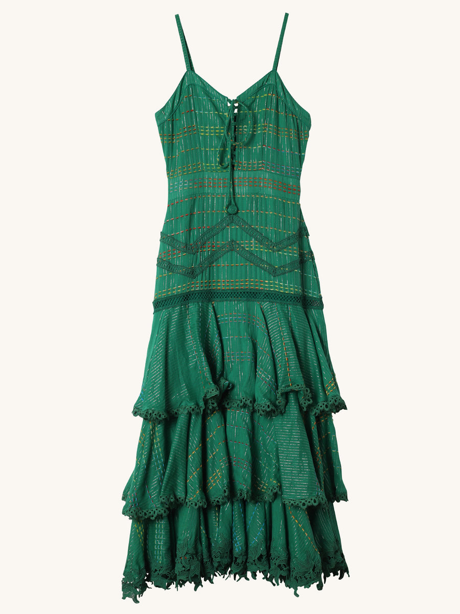 Tiered Dress in Green