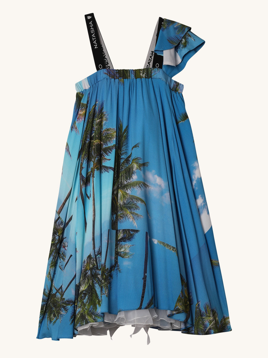 Tropical Mini Bell Dress in Blue
