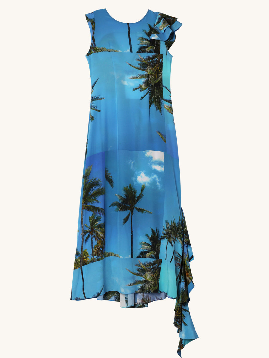 Tropical Frilled Maxi Dress