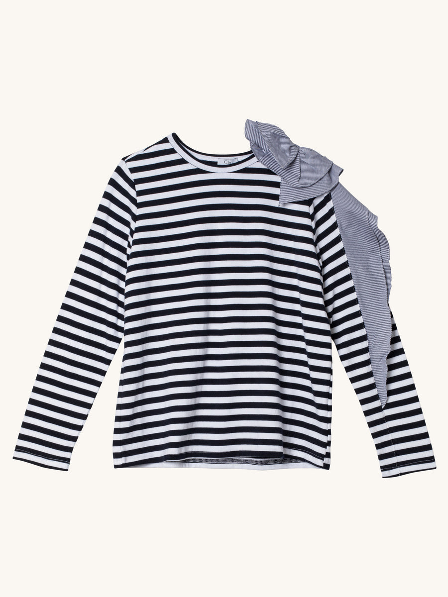Longsleeve Stripe Tee with Flower & Ruffle