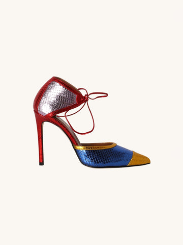 Metallic Snake Sandal in Multi