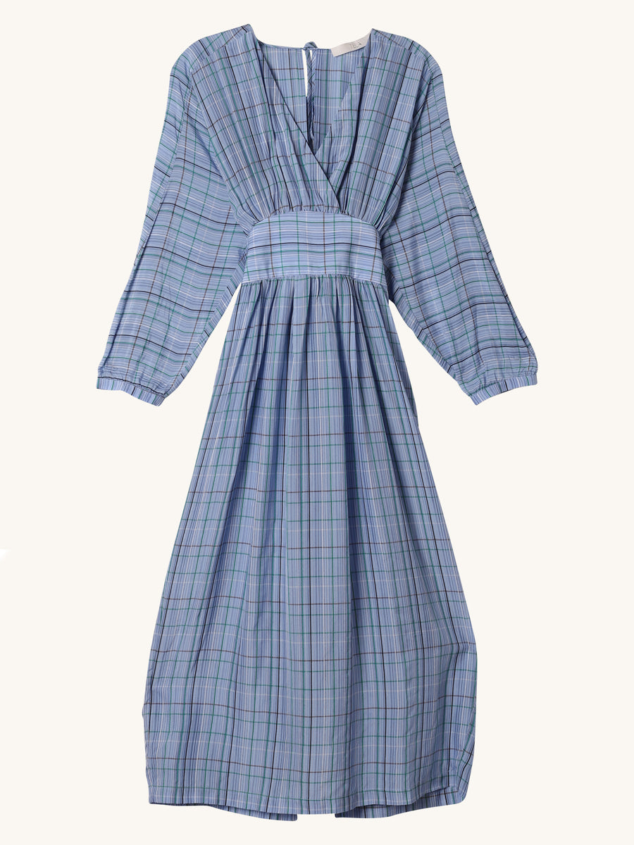 V-Neck Stripe Dress in Blue